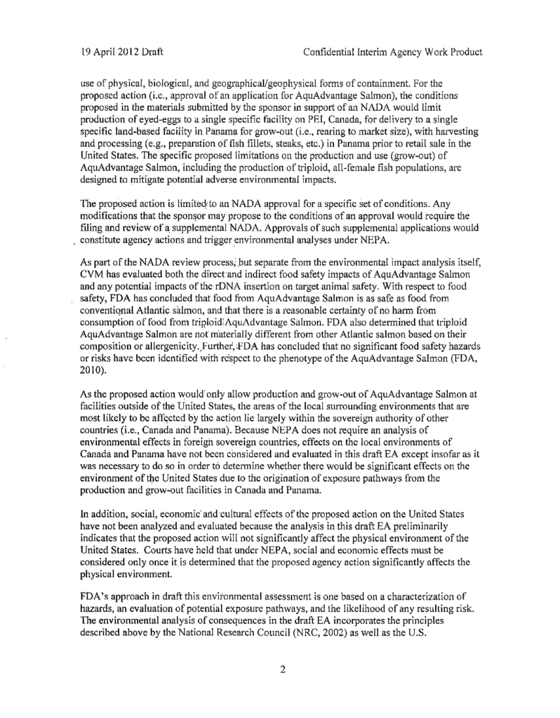 AquaBounty Draft Environmental Review
