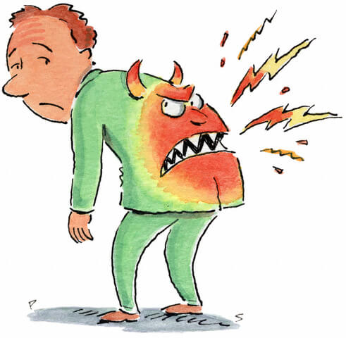 Cartoon Figure monster back pain