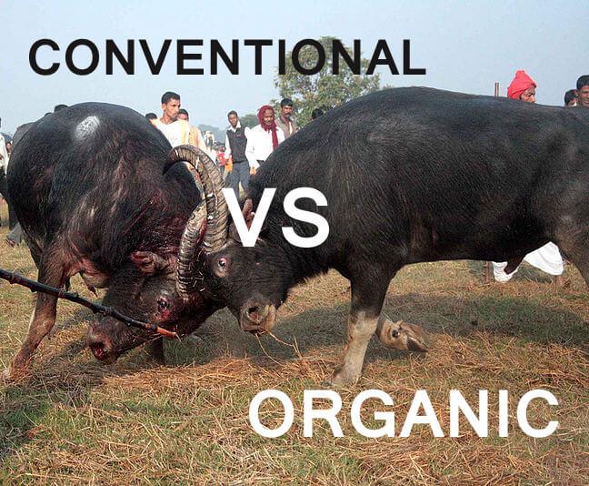 conventional farming vs organic farming