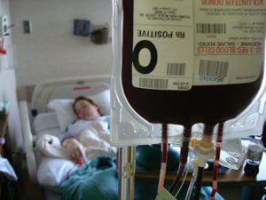 Patient receiving blood transfusion