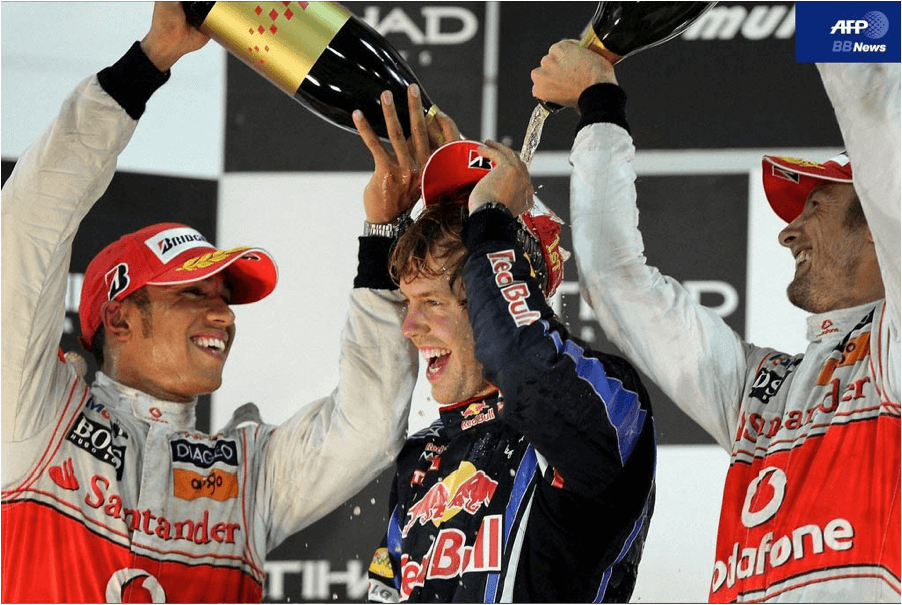 "The strange tradition of ""dousing"" the winner of a race with Champagne"