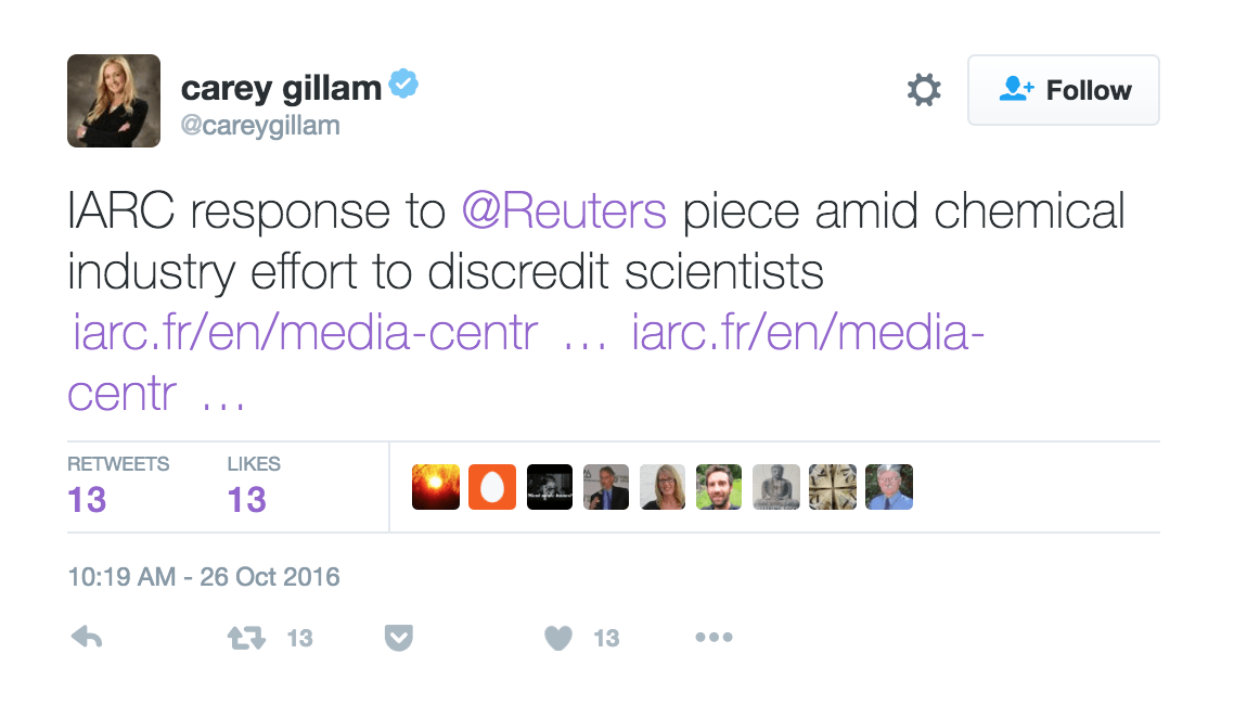 At 12:15 central time, Gillam posts her tweet with IARC's response