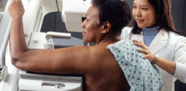 Woman receives mammogram t x