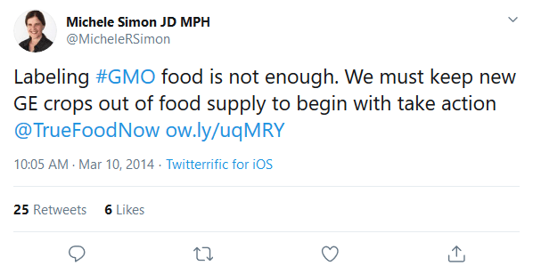 screenshot michele simon jd mph on twitter labeling gmo food is not enough we must keep new ge crops out of foo