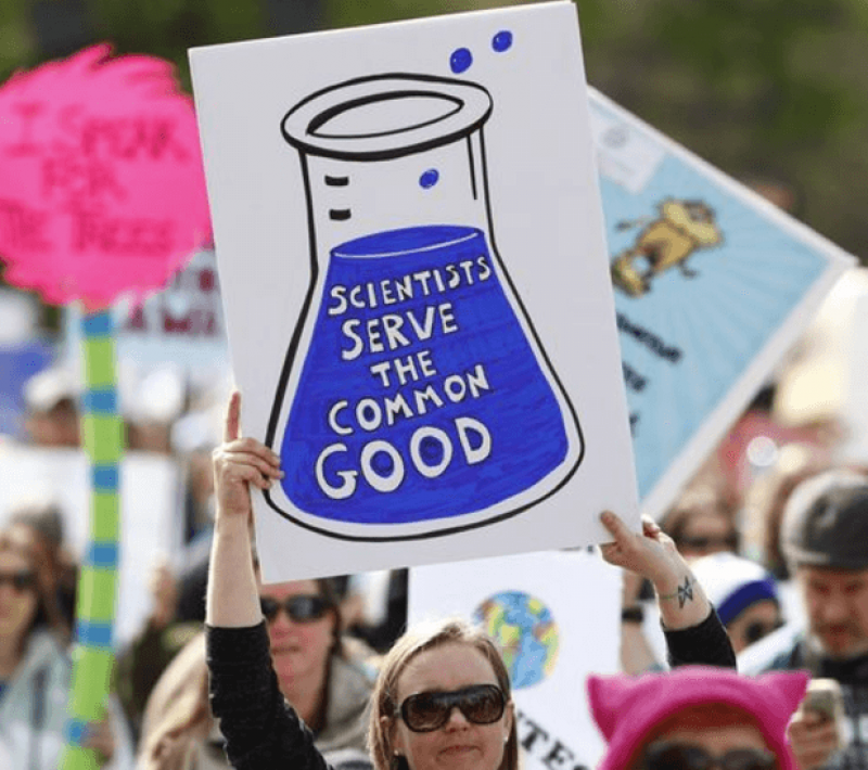 A protester holding a home-made sign during the US 'March for Science'