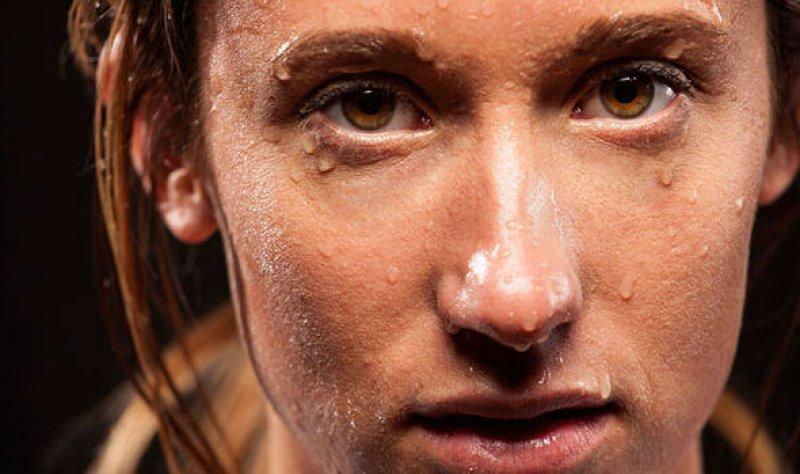 sweating woman