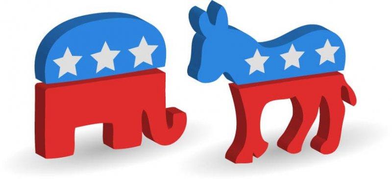 Illustration Republican Elephant Democrat Donkey