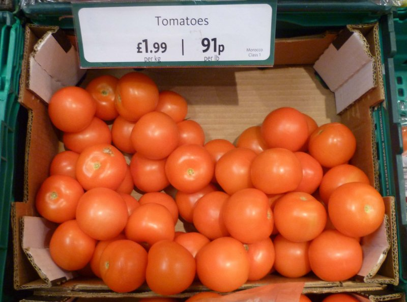 Tomatoes for sale in a UK supermarket