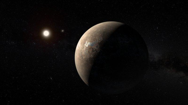artist's impression of proxima centauri b shown hypothetically as an arid rocky super earth