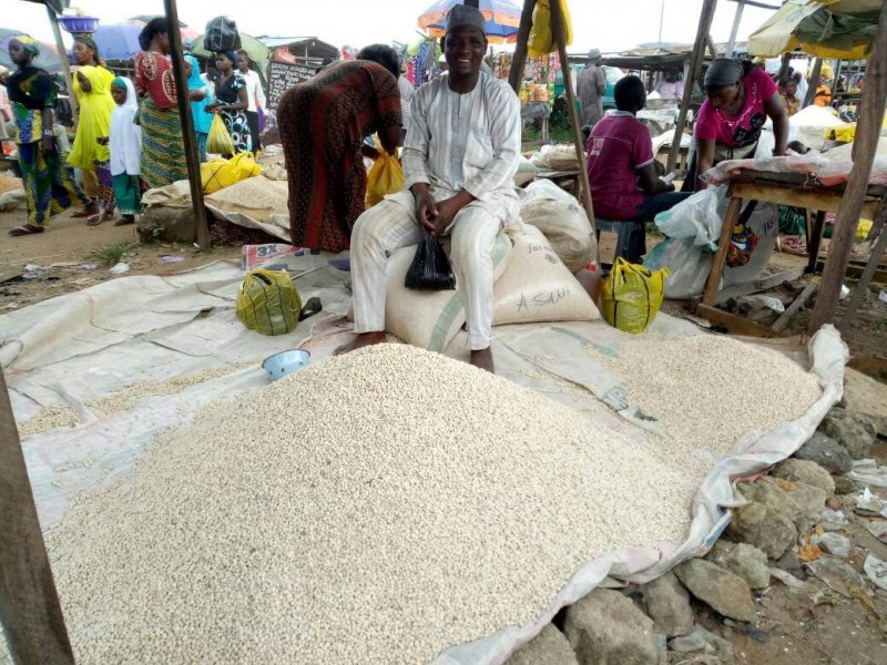 Cowpeas for sale in a Nigerian market. Credit: Nkechi Isaac