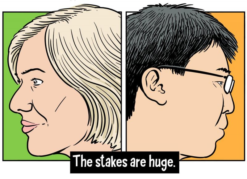 Jennifer Doudna of UC Berkeley (left) and Feng Zhang of the Broad Institute. Credit: The Nib