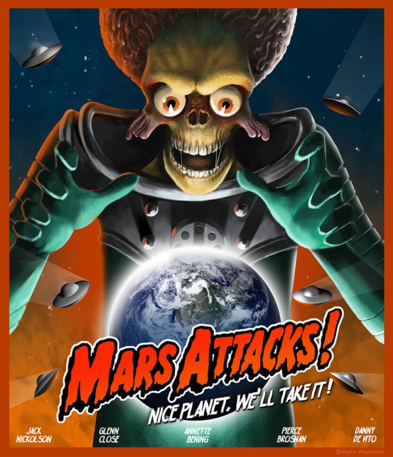 mars attacks alien car sticker