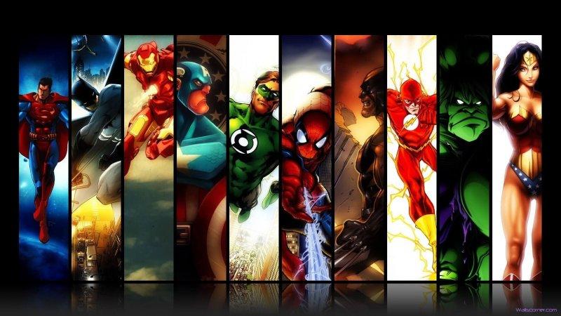marvel dc comics superman batman iron man spider man green lantern captain america wolverine the flash hulk wonder woman