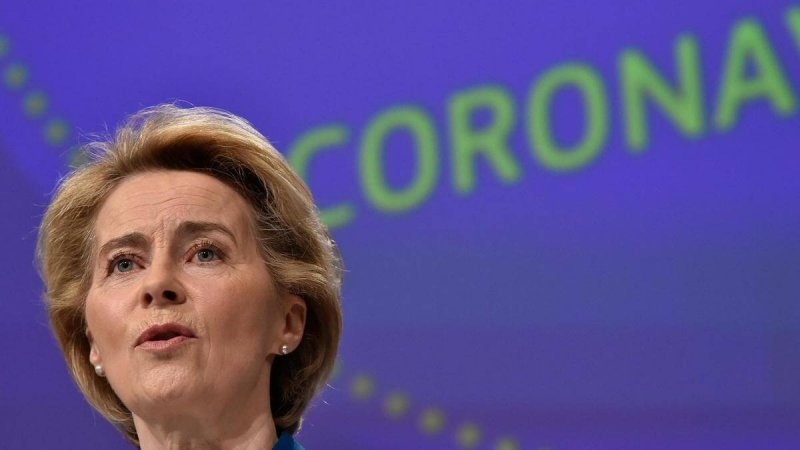 President of the European Commission Ursula von der Leyen holds a press conference on the EU response to the COVID. Credit: EPA